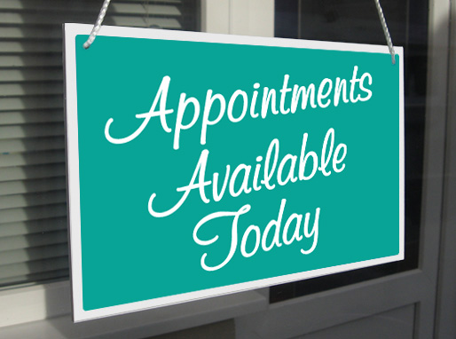 Appointments Available Today Shop Hanging Sign Window