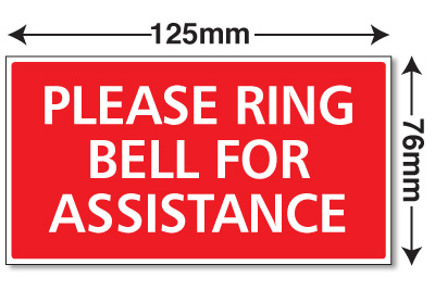 Small Please Ring Bell For Assistance Sign Plaque Notice