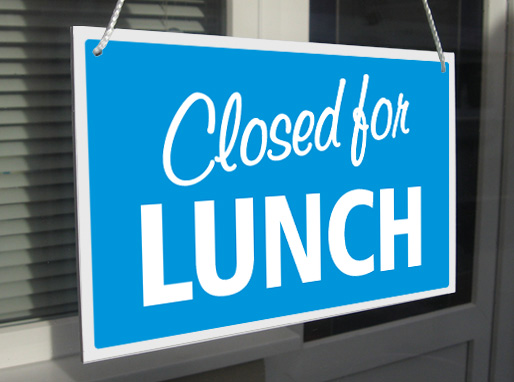 Closed For Lunch Closed Back In 5 Minutes Hanging Shop
