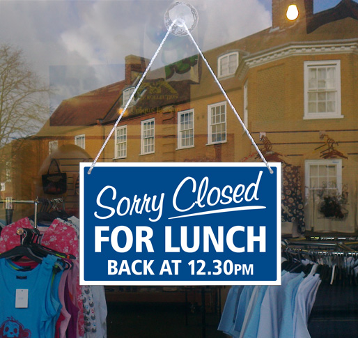 Custom Sorry Closed For Lunch Back At Xx Hanging Shop
